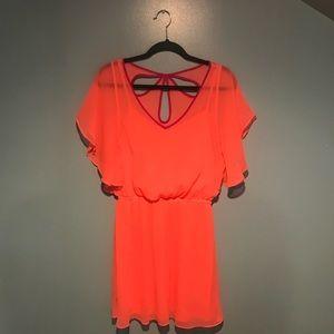 Express sheer orange dress
